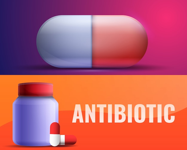 Antibiotic illustration set on cartoon style