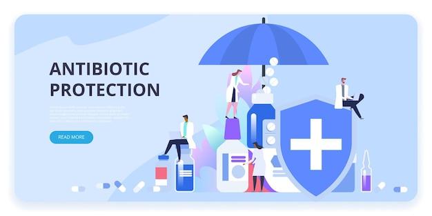 항생제 보호. 백신 접종. 전염병 감염, 바이러스, 질병 및 질병으로부터 신체를 보호하기위한 예방 약물 복용량.