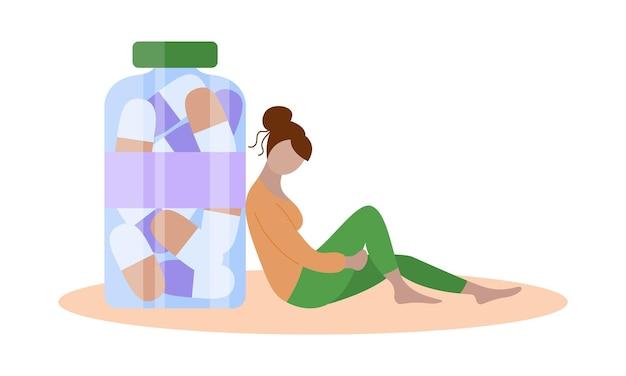 항우울제와 우울한 여자 항아리에 의료 캡슐 슬픈 소녀 앉아