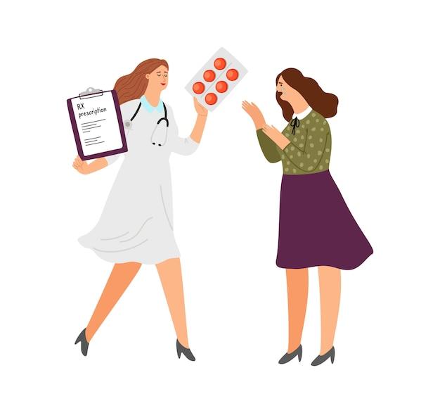 抗うつ薬rx処方。丸薬と泣いている女性と漫画の医者。うつ病治療ベクトル図