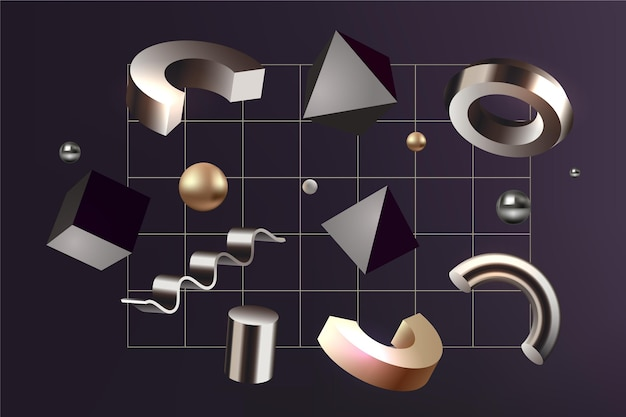Antigravity geometric shapes in 3d effect