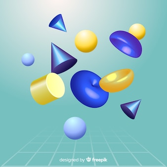 Antigravity geometric shapes with 3d effect