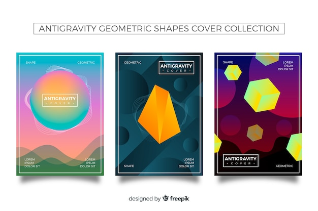 Antigravity gradient shapes cover collection