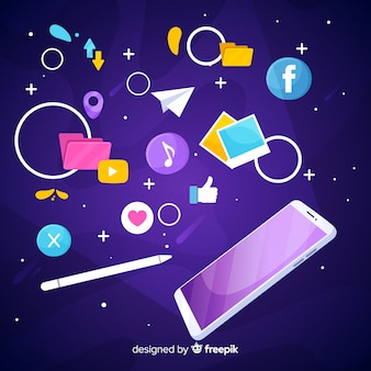 Antigravity mobile phone with icons
