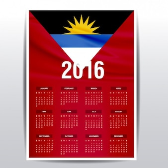 Antigua and barbuda calendar of 2016