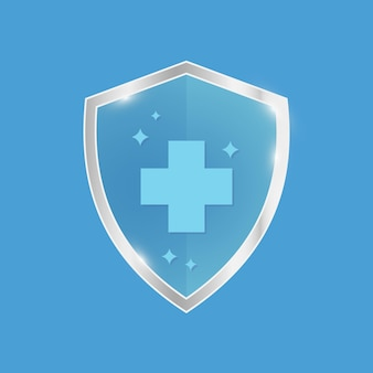 Antimicrobial resistant badge symbol of protection blue shield with silver trim