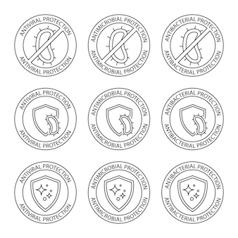 Antimicrobial resistant badges. antiseptic label. antibacterial, antiviral and antimicrobial protection, set of round stamps. coronavirus clean hygiene label. editable stroke. vector illustration