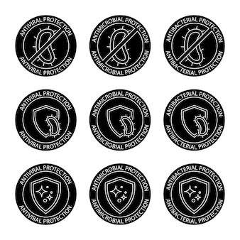 Antimicrobial resistant badges. antiseptic label. antibacterial, antiviral and antimicrobial protection, set of round stamps. coronavirus clean hygiene label. glyph icons. vector illustration