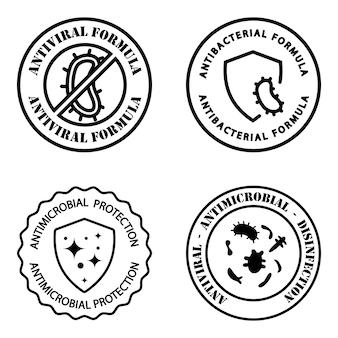 항균성 배지. 항 바이러스 및 항균 공식. 깨끗한 위생 라벨. 의료 디자인을 위한 항바이러스 보호가 있는 그림. 항균 방패. 벡터 개요 그림