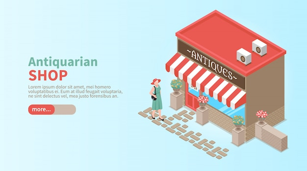 Antiquarian shop horizontal banner with elegant woman coming to shop window to make vintage purchase isometric
