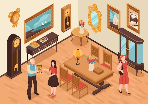 Antiquarian shop isometric interior with vintage furniture visitors and seller showing ancient book