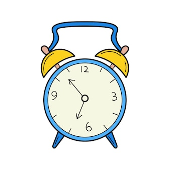 An antique alarm clock. doodle style. hand-drawn colorful vector illustration.