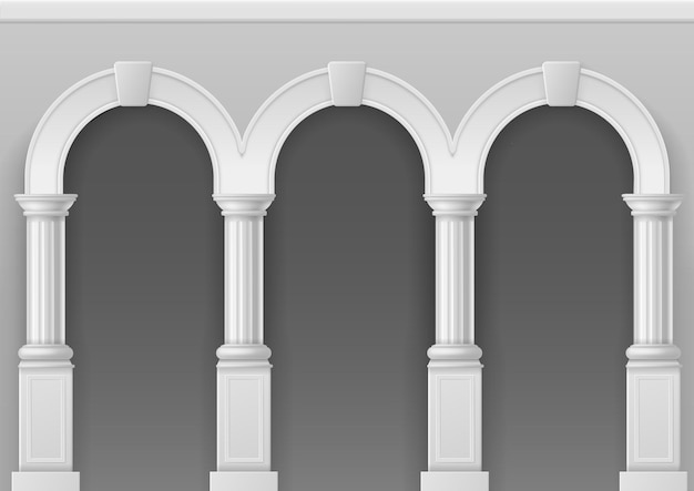 Antique arcade. architecture arch with white stone pillars, classic roman or greek palace interior with elegant columns, castle facade vector isolated illustration