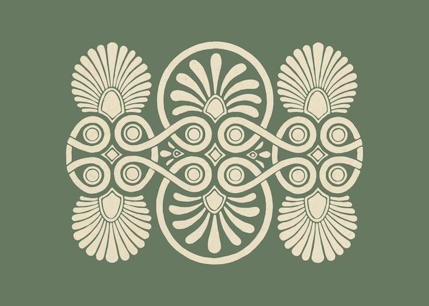 Antique beige greek vector decorative element illustration