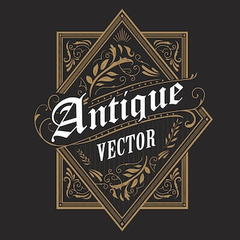 Antique border western frame vintage label hand drawn typography retro  illustration