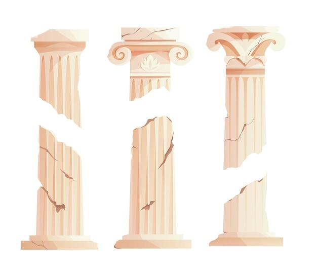 골동품 깨진 그리스 기둥 고대 로마 기둥