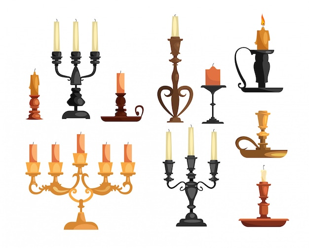 Antique candleholders set