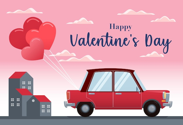 An antique car fitted with a heart-shaped balloon with a city background and a pink sky