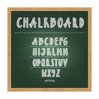 Antique child school chalkboard with green texture and hand writing alphabet on it. vector doodle wr