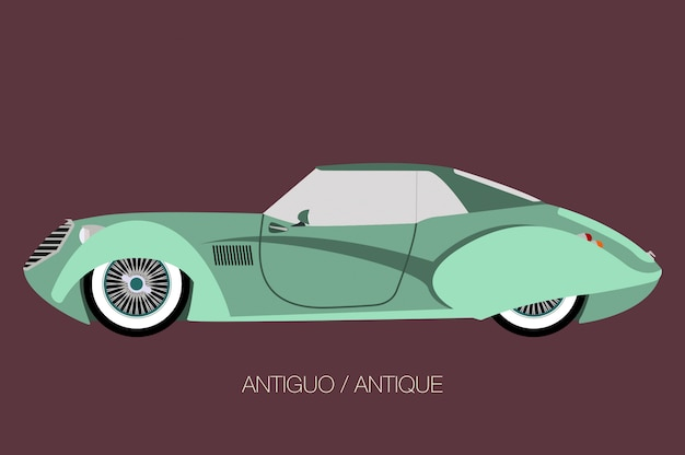 Antique classic car, vector car icon, side view of car, automobile, motor vehicle