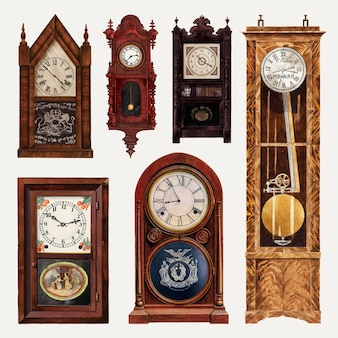 Insieme di elementi di disegno vettoriale di orologi antichi, remixato dalla collezione di pubblico dominio