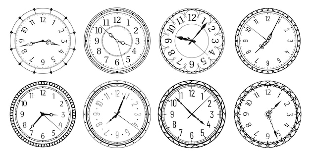 Antique clocks with arabic numerals, retro watchface and antic watches.