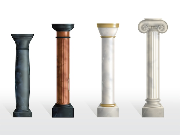Antique columns set. ancient stone or marble classic ornate pillars of different colors and textures isolated. roman or greece facade decoration. realistic 3d vector illustration
