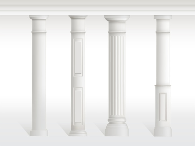 Antique columns set, balustrade isolated on white background.