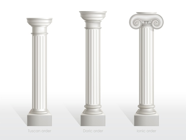 Antique columns set of tuscan, doric and ionic order isolated. ancient classic ornate pillars of roman or greece architecture for facade decoration realistic 3d vector illustration