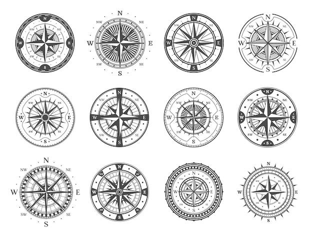 바람 장미 화살표와 골동품 나침반입니다. 별, 기본 방향 및 자오선 규모가 있는 빈티지 나침반. 흑백 벡터 해양 탐색, 탐사 및 지리적 발견 기호 나이