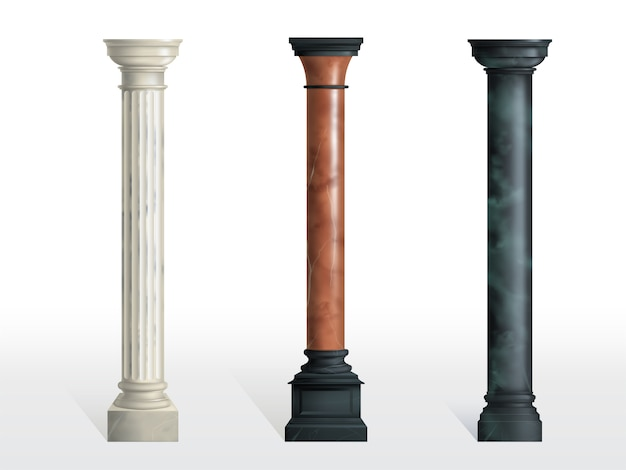 Antique cylindrical columns of white, red and black marble stone with cubical base realistic vector isolated. ancient architecture, historical or modern building exterior element