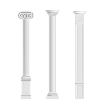 Antique cylindrical doric, ionic orders and modern cubic columns of marble stone