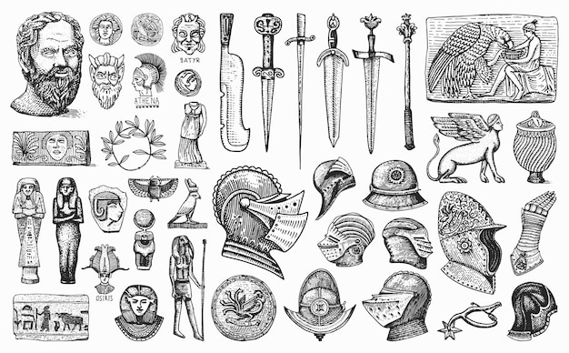アンティークの要素。騎士の武器と鎧。エジプトの花瓶、ミイラ、石棺。古代の彫像と剣。