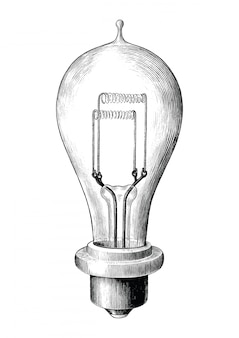 Antique engraving illustration of bulb lamp black and white clip art isolated