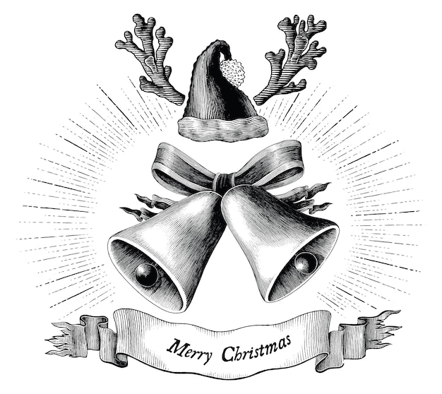Antique engraving illustration of christmas black and white concept isolated on white background