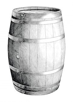 Antique engraving illustration of oak barrel hand drawing black and white clip art isolated, alcoholic fermentation oak barrel