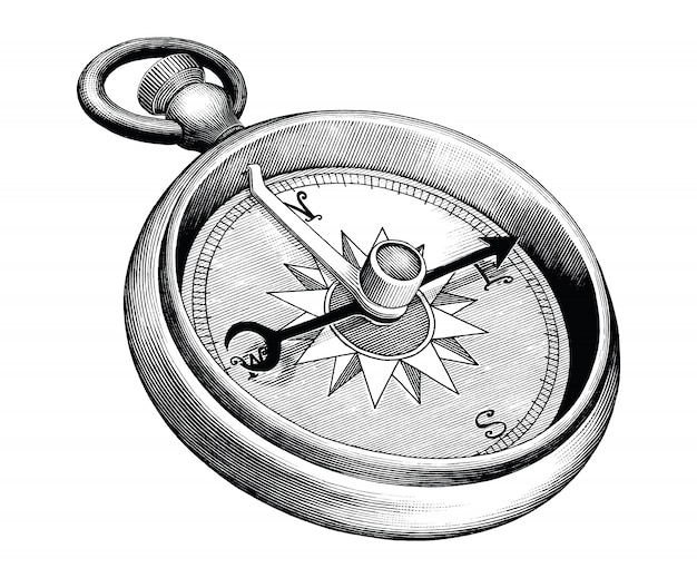Античная иллюстрация гравировки компаса черно-белой картинки