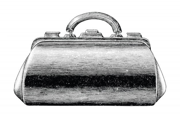 Antique engraving illustration of vintage medical bag hand draw black and white clip art isolated, first aid medical bag