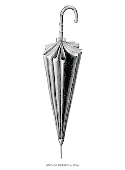 Antique engraving vintage illustration style of umbrella black and white
