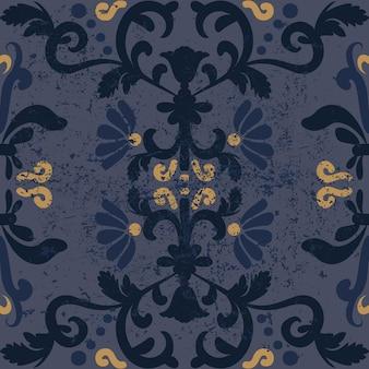 アンティークの花の背景シームレスなヴィンテージぼろぼろのパターングランジと擦り切れた東洋の飾り