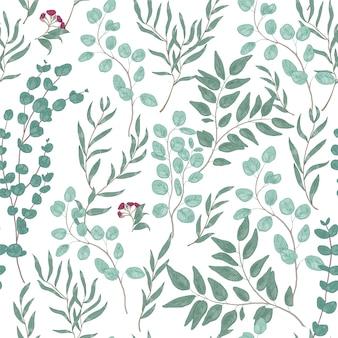 美しいユーカリの枝、葉、花とアンティークの花のシームレスなパターン