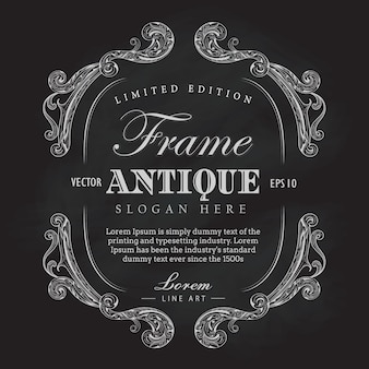 Antique frame chalkboard hand drawn vintage label banner vector