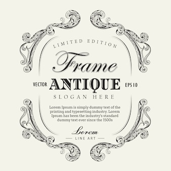 Antique frame hand drawn vintage label banner vector illustratio
