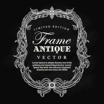 Antique frame vintage hand drawn blackboard label banner elegant