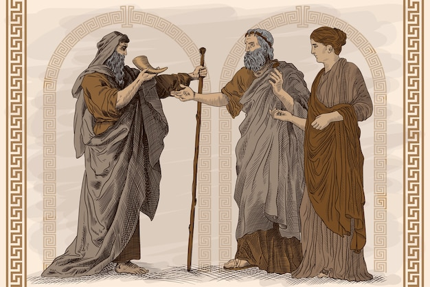고대 그리스의 삶의 한 장면 인 골동품 프레스코 화. 두 노인과 젊은 날씬한 여자가 서서 경적에서 와인을 마시고 이야기하고 있습니다.