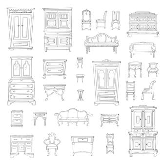 앤티크 가구 세트 : 옷장, 스탠드, 옷장, 의자, 스탠드 및 뷰로. 벡터 손으로 그려진 된 복고풍 컬렉션입니다. 스케치 스타일.