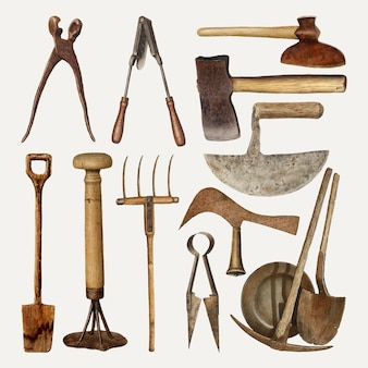 Antique gardening tools vector design element set, remixed from public domain collection