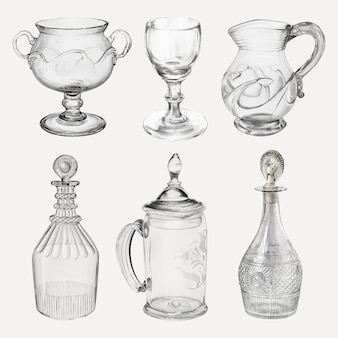古董玻璃器皿向量设计元素集合,重新混合从公共领域收集