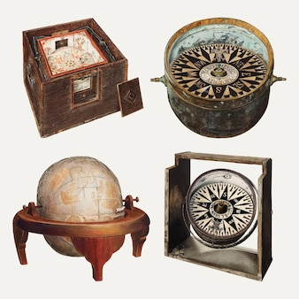 Antique globe and compass vector design element set, remixed from public domain collection