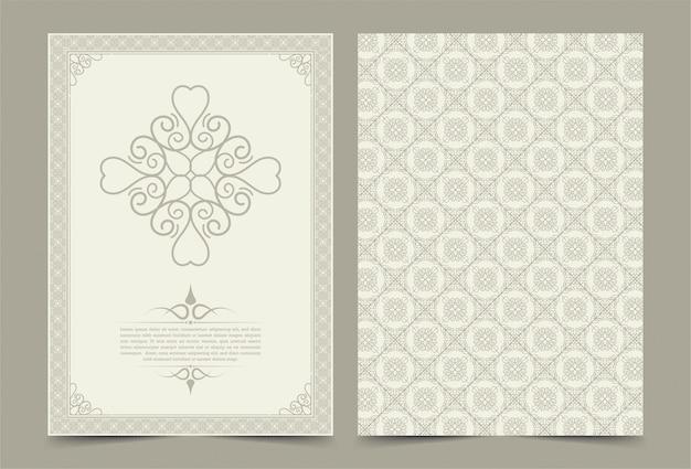 Antique gold greeting card template. vintage wedding invitation